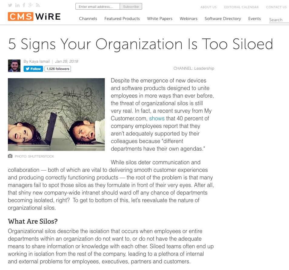 CMSWire Article Screenshot