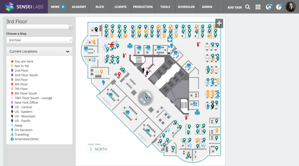 Seating Map showing people's locations on a floor plan in SenseiOS