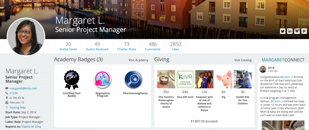 Team Member Profile in SenseiOS showing badges for Academy and Giving, contact info, and Connect social feed.