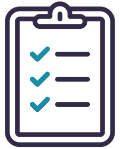 Checklist icon - clipboard with checkmarks next to line items