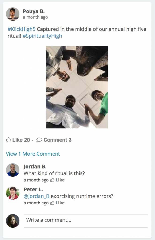 A Connect social post showing 4 people giving each other high fives in a circle