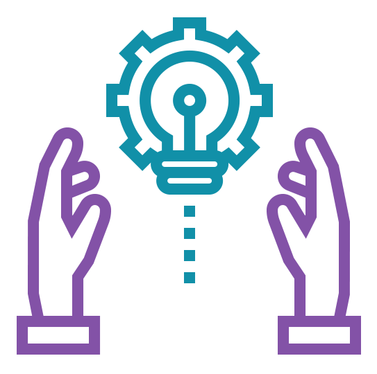 hands holding a gear/icon hybrid