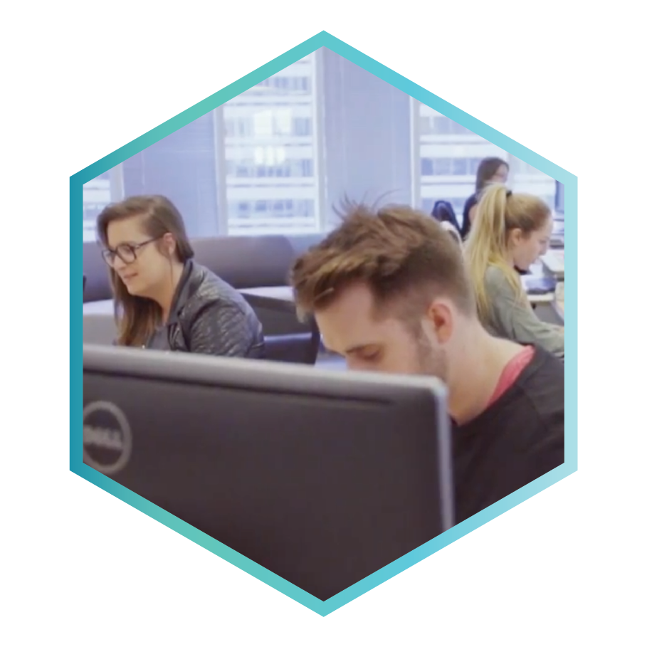 People working, in a hexagon