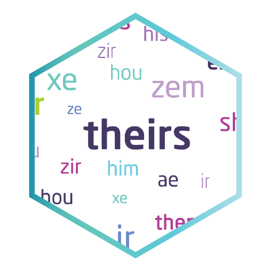 Various personal pronouns, in a hexagon