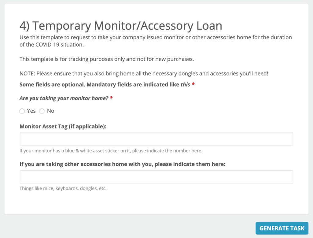 Monitor lending task template